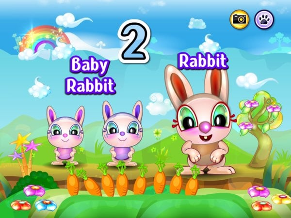 Baby Animals Learning Game allows you to learn the names of baby animals, what their favorite treats are, and a bit of counting as you're feeding them.