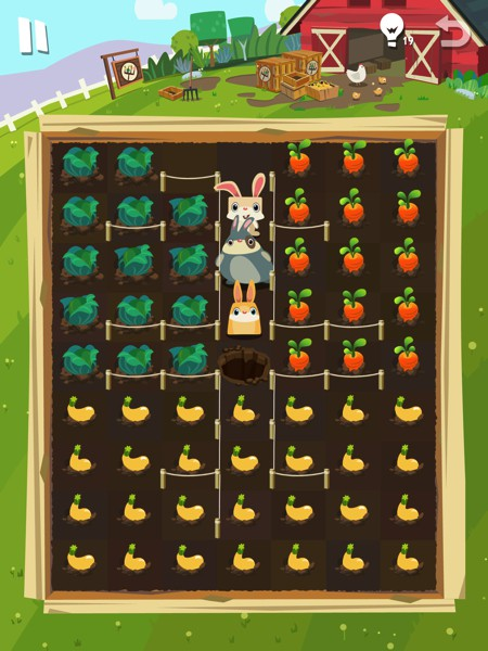 As you progress through the levels, the difficulty also increases. For example, you might find levels where multiple bunnies must cooperate to achieve their individual goals.