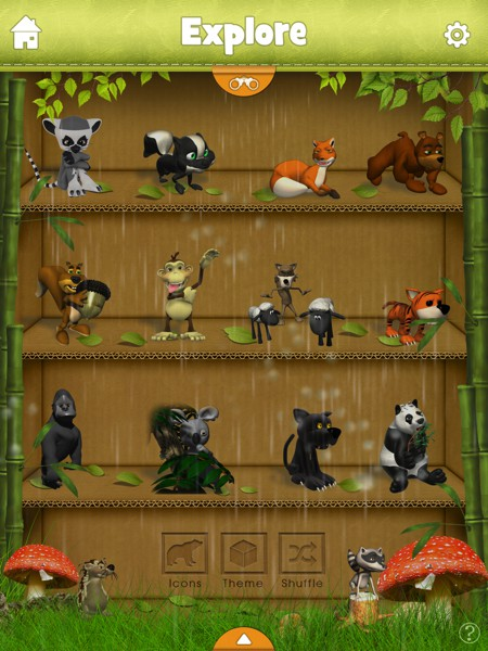 It is possible to customize many of the elements in the app. You can even change the weather in the animal selection screen.