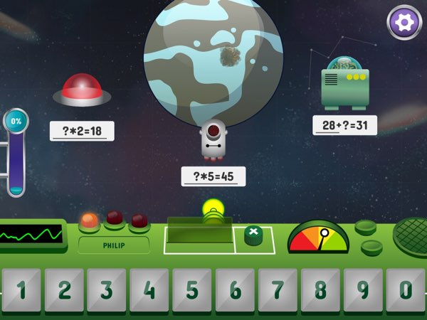 In Space Math Hero, kids solve math problems to shoot down evil monsters before they can blow up the planets.