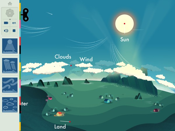 In Weather by Tinybop, children can learn about the atmospheric forces that make the day-to-day weather we experience