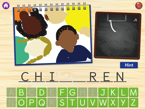 HangArt helps children acquire sight words through a creative take on the classic Hangman game
