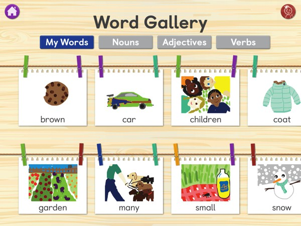 Won words are displayed in the Word Gallery, and organized by parts of speech
