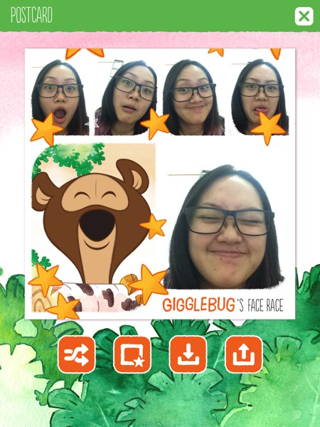 Gigglebug's Face Race is a silly app where you try to copy expressions from animated characters