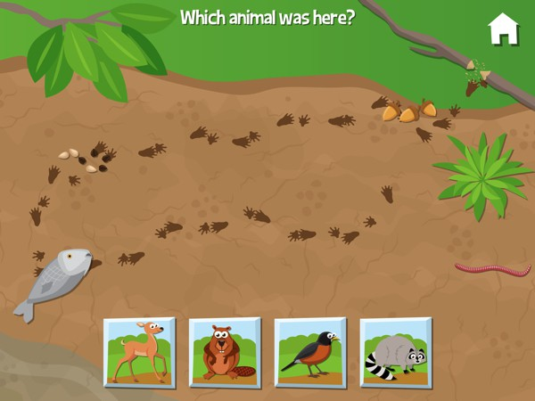 In this mini game, kids guess which animal leaves the track on the ground