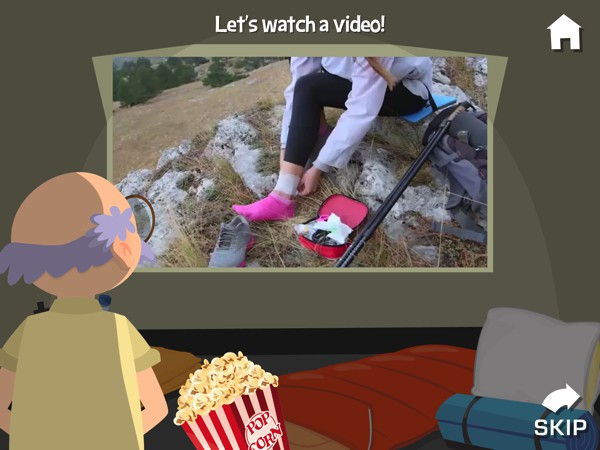 The app includes real-life videos about camping experience