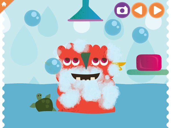 The app introduces kids to good habits, such as regularly washing and brushing teeth