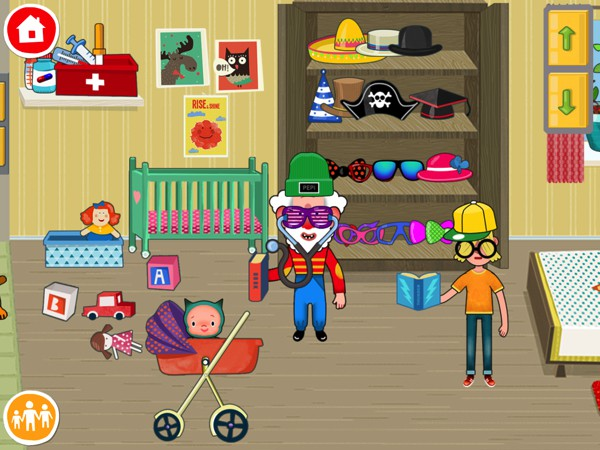Kids can accessorize their characters with hats and sunnies from the wardrobe