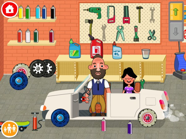 In the garage, kids can give the family car a fresh coat of paint or take it for a drive