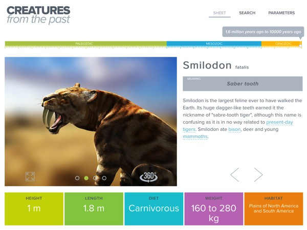 Learn about extinct animals from the past 400 million years in the Creatures from the Past app