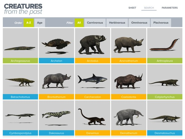 You can quickly browse through all the animals listed in the app, or filter them by name, age, or diet