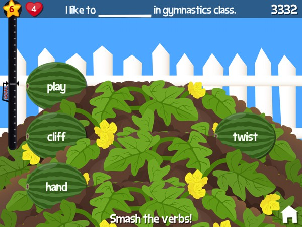 In Smashing Grammar, kids play arcade-style games that test their grammar skills and reading fluency