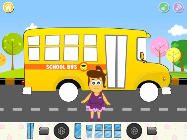 There are lots of different game mechanics in HooplaKidz Nursery Rhymes Activities. For example, in the Wheels on the Bus game, you're challenged to drag the matching parts of a school bus.