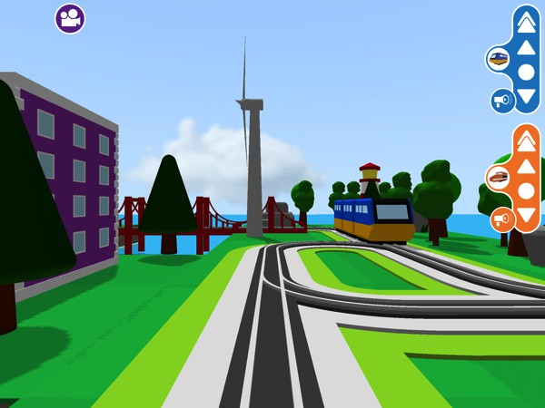 You can explore the tiny worlds you've built by switching to the train driver view