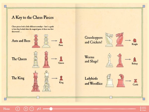 The book uses insects as a fabled representation of the chess pieces.