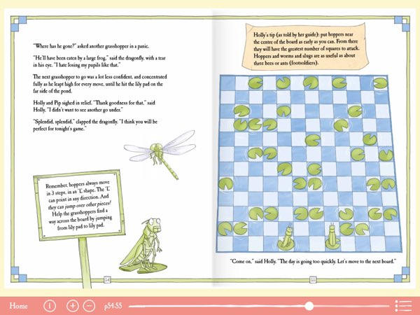 To help kids understand how each chess piece moves, the book includes practice boards to challenge them to apply their understanding to solve the problems.