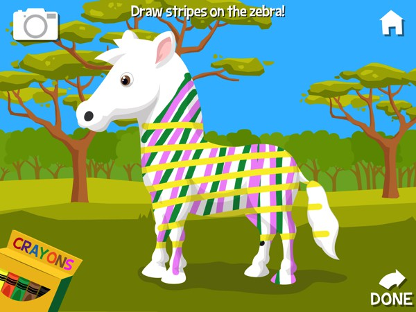 The app also includes fun extra activities, such as coloring stripes on the zebra