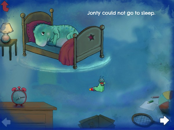 Jonty the dinosaur has trouble falling asleep in bed