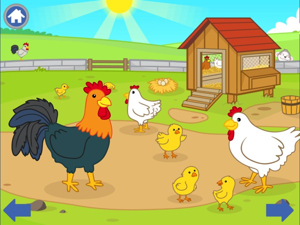The sound effects vary for each animal. For example, the rooster crows while the chicks chirp