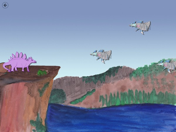 In Patrick's Dinosaur, kids help dinosaurs fend off the alien spaceships by throwing rocks at them