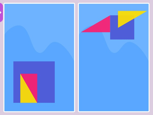 Kids rotate, resize, and combine shapes to match the pictures