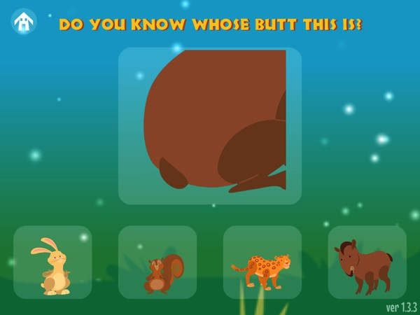 After reading the story, kids can play the funny mini game and guess which animal the pictured butt belongs to