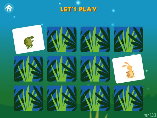 Kids can also play a memory game featuring the animals from the story
