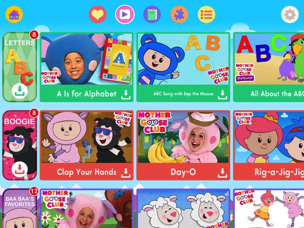 The Mother Goose Club app offers videos, games, and books for kids