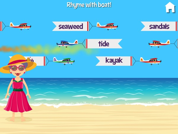 Grandma's Beach Fun offers seven summer-themed educational mini games for ages 5-9