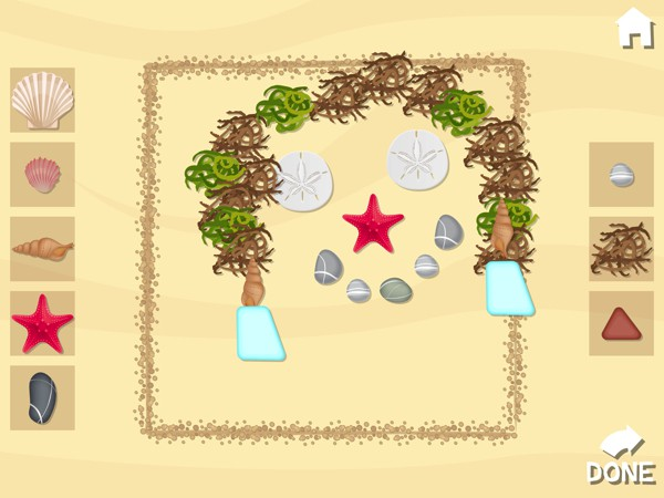 The game also includes creative activities such as painting with shells