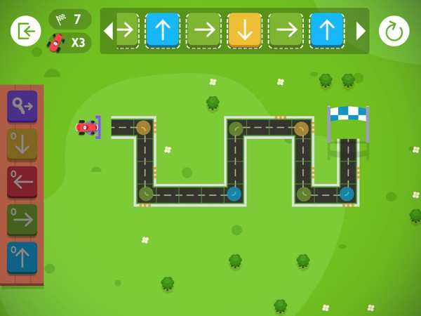 Code Karts is a racecar-themed game that introduces young kids to coding