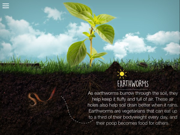 Starting With Soil is a visually rich app that teaches kids where their food comes from