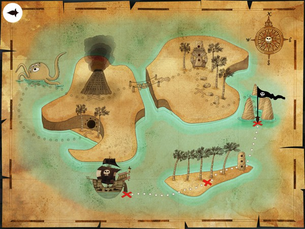 Follow the treasure map through eight unique locations