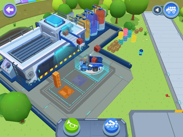 Visit the factories to collect materials for your building