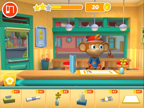 Use the coins you earn to buy tableware and decorations