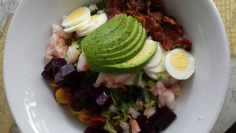 LOVED this shrimp cobb salad with fresh beets at The Blue Plate Oysterette.