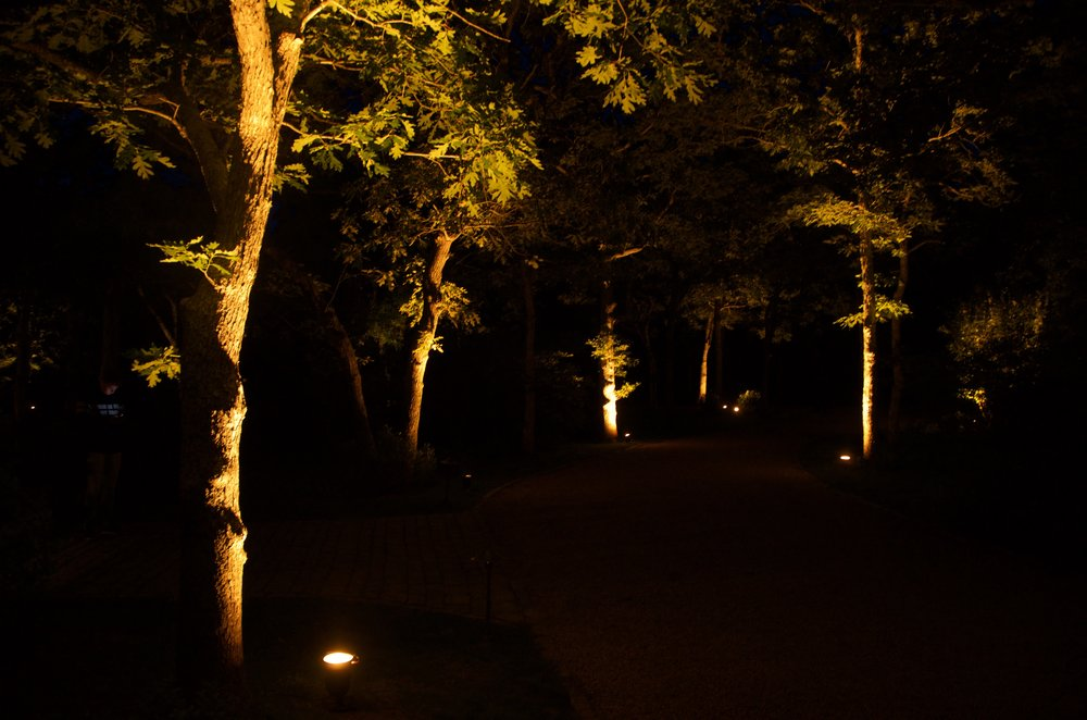 Wireless LED uplights to highlight a pathway