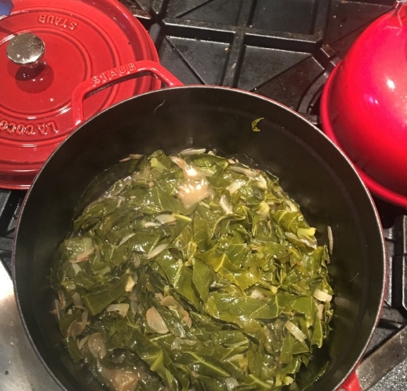 After braising for 30 minutes the greens turn to this not quite as lovely army green. Good news,  that color means they are tender and delicious!
