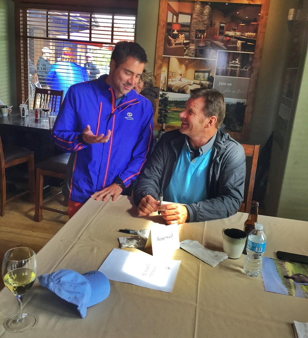 I tell hilarious golf jokes, Nick Faldo laughs with appreciation.  Photo by Sarah Moodie