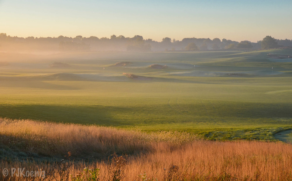 The early morning view on the range at Erin Hills