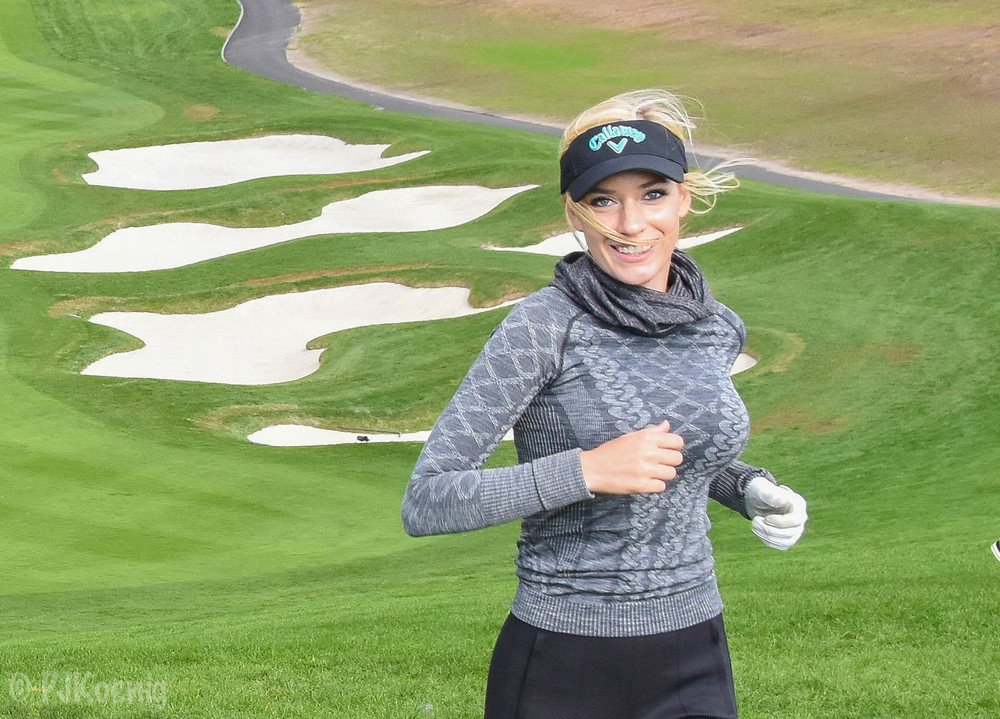 Paige climbs the hill on #6 with a smile.  She would go on to make an easy birdie after almost reaching the green.in 2.