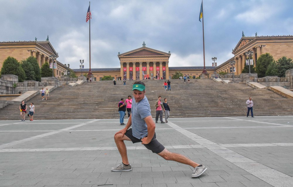 Polishing my model poses in front of the rocky steps.