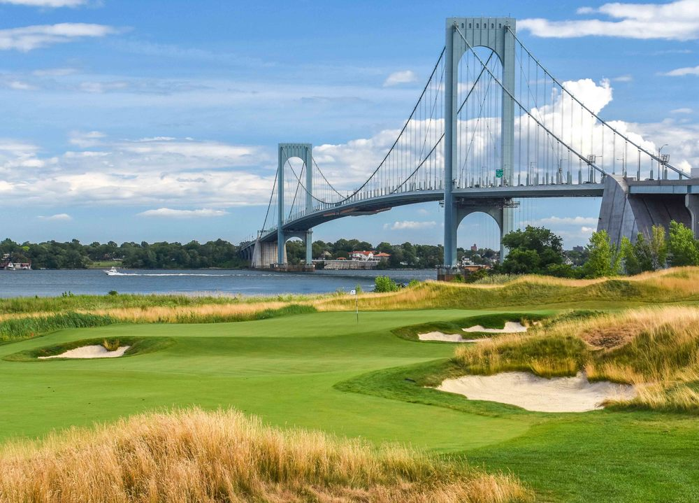 The Whitestone Bridge owns the view on the 18th at Ferry Point.