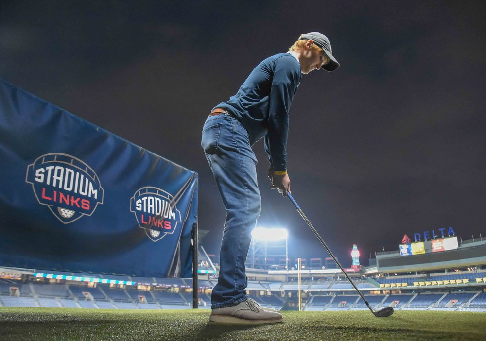 gottaGolf  founder, Clint, starts things off on the 1st hole at Turner Field.