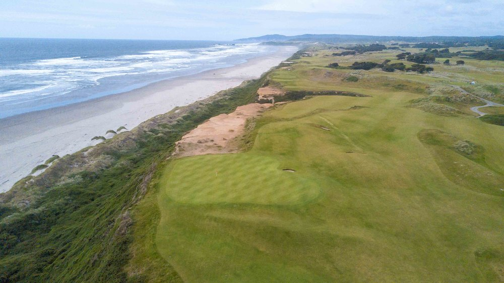 A different view of the 16th green at Bandon Dunes.