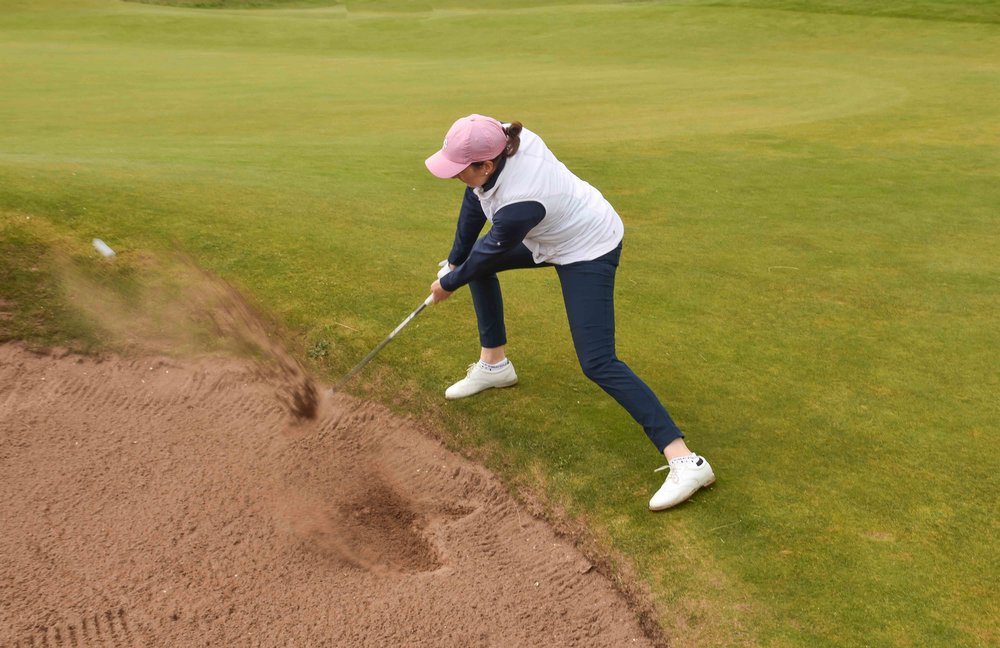 Hally would find the sand often at Carnoustie, this one would also find the bottom of the cup for birdie.