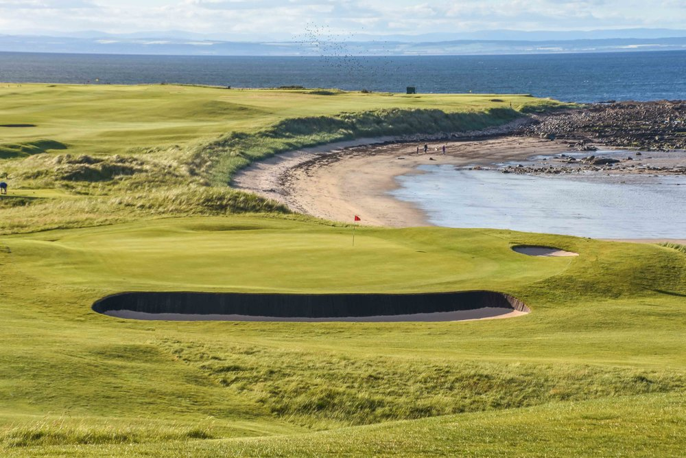 The par 3 14th hole at Crail greets you on your arrival to the Balcomie Course.