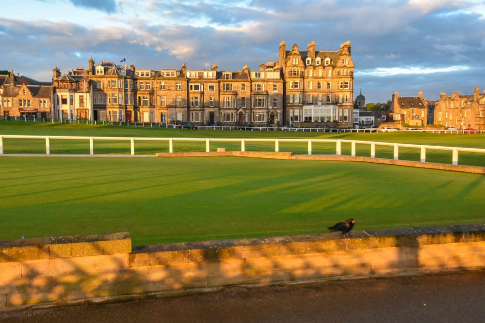 The view from the early morning line at the Old Course.