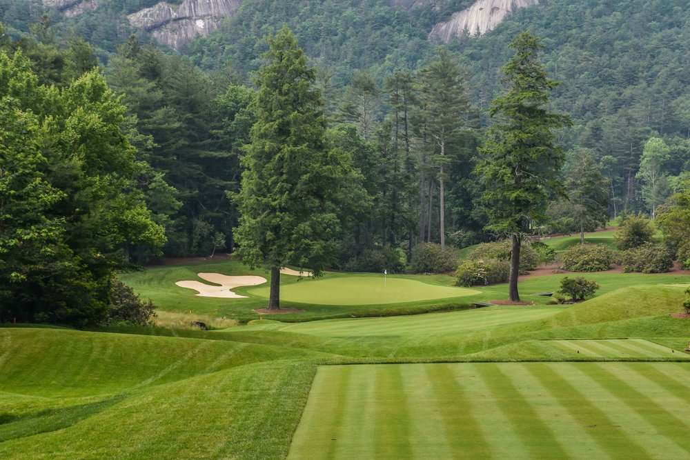 The stunning 17th at Wade Hampton.  They spend about $15k each year making sure those 2 trees remain disease free.