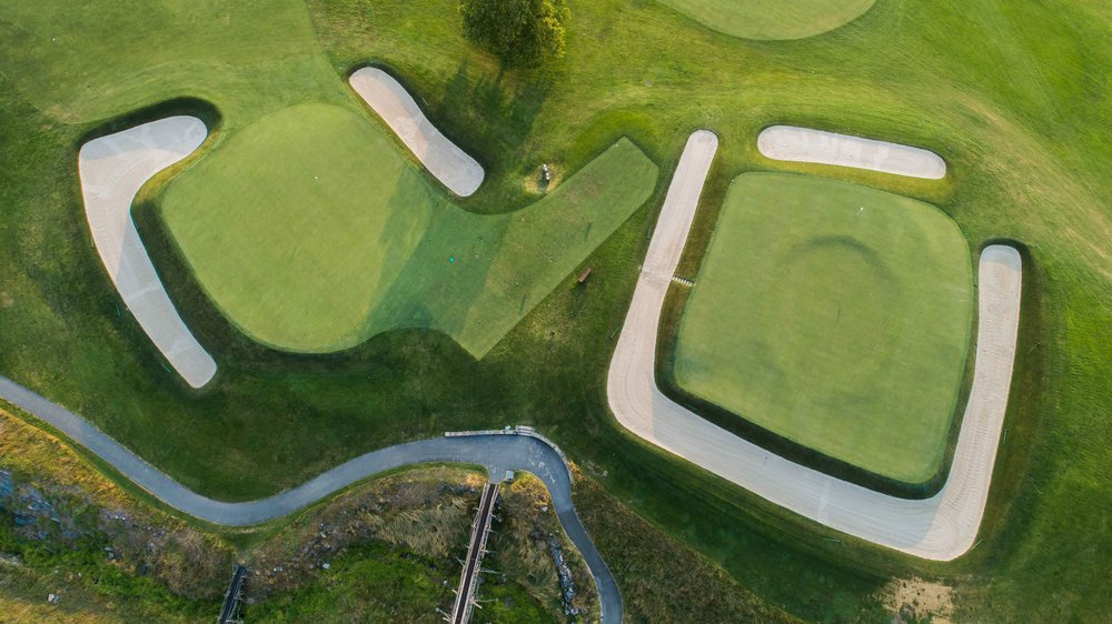 The 2nd and 16th holes from above.